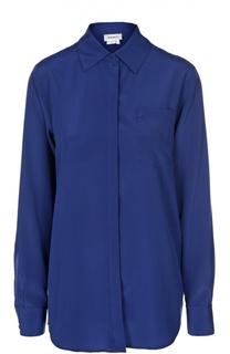 Шелковая блуза с удлиненной спинкой и накладным карманом DKNY