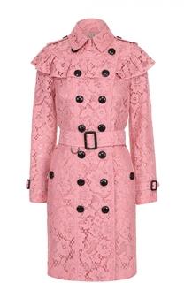Кружевное двубортное пальто с оборкой Burberry
