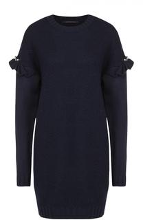 Удлиненный пуловер фактурной вязки с оборками Mother Of Pearl