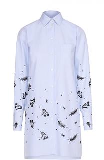 Удлиненная блуза с накладным карманом и контрастной отделкой Valentino