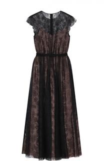 Приталенное кружевное платье-миди Valentino
