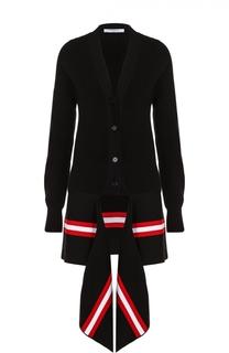 Удлиненный кардиган с декоративной контрастной отделкой Givenchy