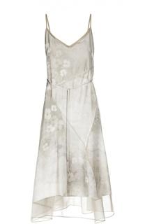 Шелковое платье-комбинация с поясом Elie Tahari