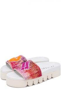 Шлепанцы Plisse из текстиля с аппликациями Joshua Sanders