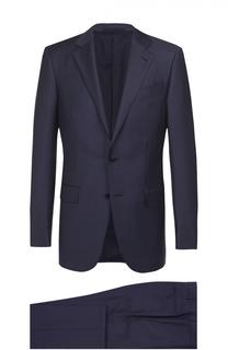 Шерстяной приталенный костюм с пиджаком на двух пуговицах Ermenegildo Zegna