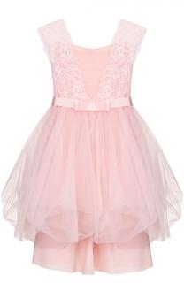 Платье с пышной юбкой и кружевной отделкой Aletta