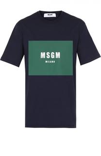 Хлопковая футболка с контрастным принтом MSGM