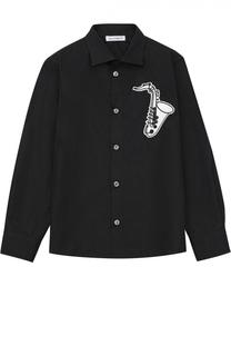 Рубашка из хлопка с аппликацией Dolce & Gabbana