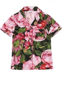Блуза из хлопка с цветочным принтом Dolce & Gabbana