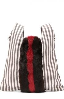 Сумка Furrissima из текстиля и меха норки Simonetta Ravizza