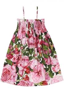 Платье из хлопка с цветочным принтом Dolce & Gabbana