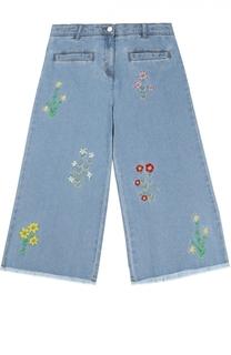 Широкие джинсы с цветочной вышивкой Stella McCartney