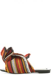 Текстильные шлепанцы с декоративным узлом No. 21