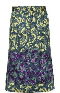 Юбка-миди с вышивкой и контрастным принтом Dries Van Noten