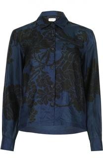 Шелковая блуза прямого кроя с цветочным принтом Dries Van Noten