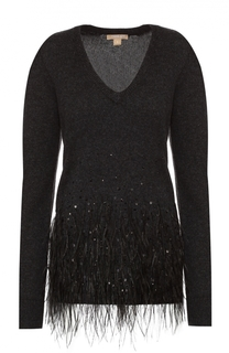 Кашемировый пуловер прямого кроя с отделкой из перьев страуса Michael Kors