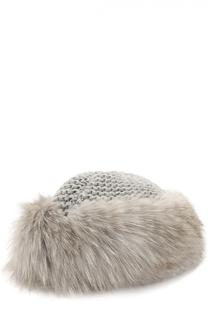 Вязаная шапка из кашемира с отделкой из меха лисы Inverni