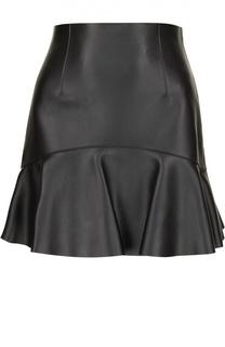 Кожаная мини-юбка с оборкой Dsquared2