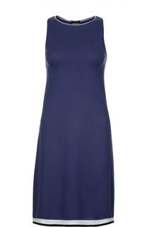 Приталенное хлопковое платье с контрастной отделкой подола Giorgio Armani