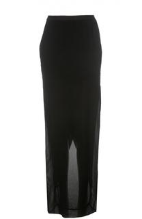 Шелковая полупрозрачная юбка-макси Rick Owens