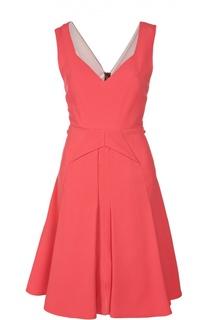 Приталенное платье со складками и V-образным вырезом Roland Mouret