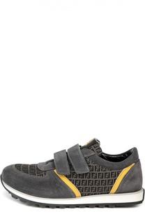 Замшевые кроссовки color block с застежкой велькро Fendi Roma