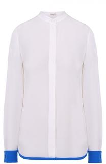 Шелковая блуза прямого кроя с контрастной отделкой Emilio Pucci