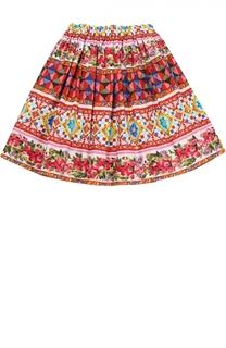 Юбка из хлопка с принтом Dolce & Gabbana