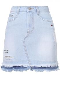 Джинсовая мини-юбка с потертостями и бахромой Steve J & Yoni P