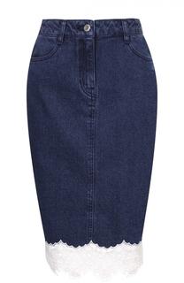 Джинсовая юбка-карандаш с кружевной отделкой Steve J & Yoni P