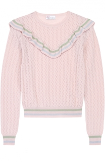 Укороченный пуловер с контрастной отделкой и оборками REDVALENTINO