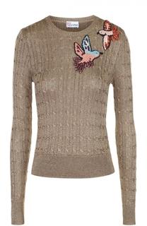 Облегающий пуловер с металлизированной отделкой и контрастной вышивкой REDVALENTINO