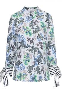 Блуза прямого кроя с принтом и декорированными рукавами Dorothee Schumacher