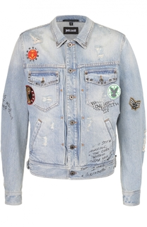 Джинсовая куртка с принтом и нашивками Just Cavalli