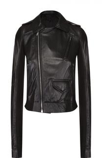 Укороченная кожаная куртка с косой молнией Rick Owens