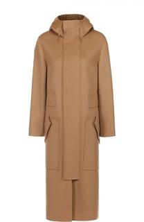 Шерстяное пальто прямого кроя с карманами Valentino
