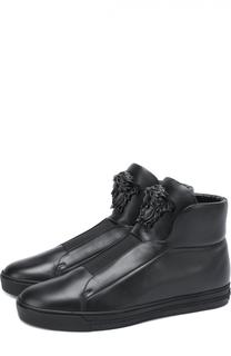 Высокие кожаные кеды без шнуровки Versace