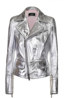 Укороченная кожаная куртка с косой молнией Dsquared2