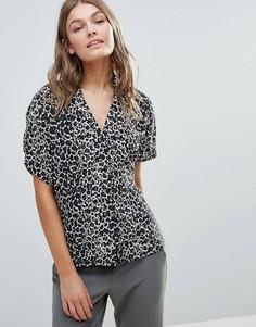 Шелковая блузка с принтом Selected Celiva - Черный