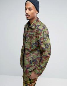 Камуфляжная спортивная куртка с нашивками в стиле милитари Dxpe Chef - Зеленый