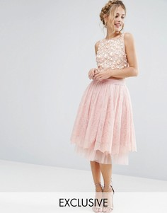 Юбка миди из тюля с кружевной накладкой Lace & Beads - Розовый
