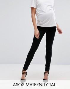 Черные джинсы скинни для беременных с завышенным поясом поверх животика ASOS Maternity TALL Ridley - Черный