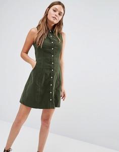 Вельветовое платье‑рубашка без рукавов QED London - Зеленый