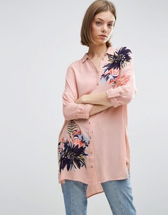 Удлиненная рубашка с принтом Vila - Рыжий