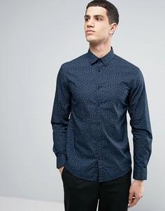 Хлопковая рубашка с длинными рукавами и принтом Celio - Темно-синий