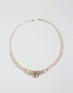 Nylon Gem Embellished Collar Necklace - Серебряный