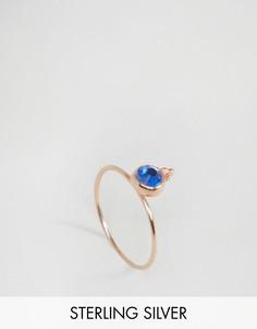 Серебряное позолоченное кольцо с камнем для родившихся в сентябре ASOS - Синий