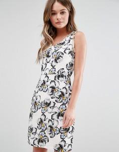 Платье миди в горошек с цветочным принтом Poppy Lux Geneva - Черный