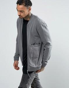Трикотажная куртка-пилот с ткаными вставками и молниями ASOS - Серый