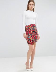 Облегающая юбка с цветочным принтом Madame Rage - Красный